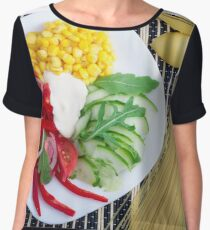 Vegetarian dish of raw vegetables and mozzarella  Women's Chiffon Top