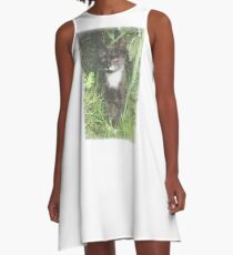 Faded Cat in the Woods A-Line Dress