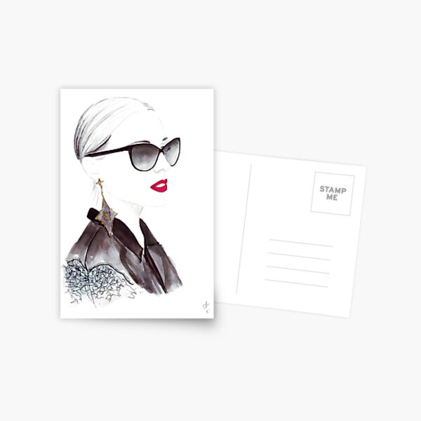 Watercolour & Ink Fashion Illustration Titled In Dior Postcard