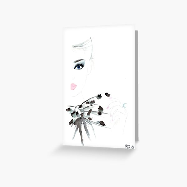 Watercolour & Ink Fashion Illustration Titled Bow Top Greeting Card
