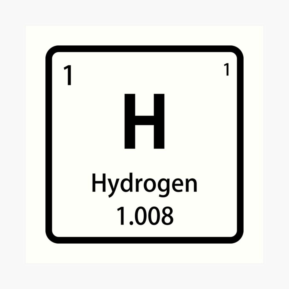 Black Hydrogen Element Tile Periodic Table Art Print