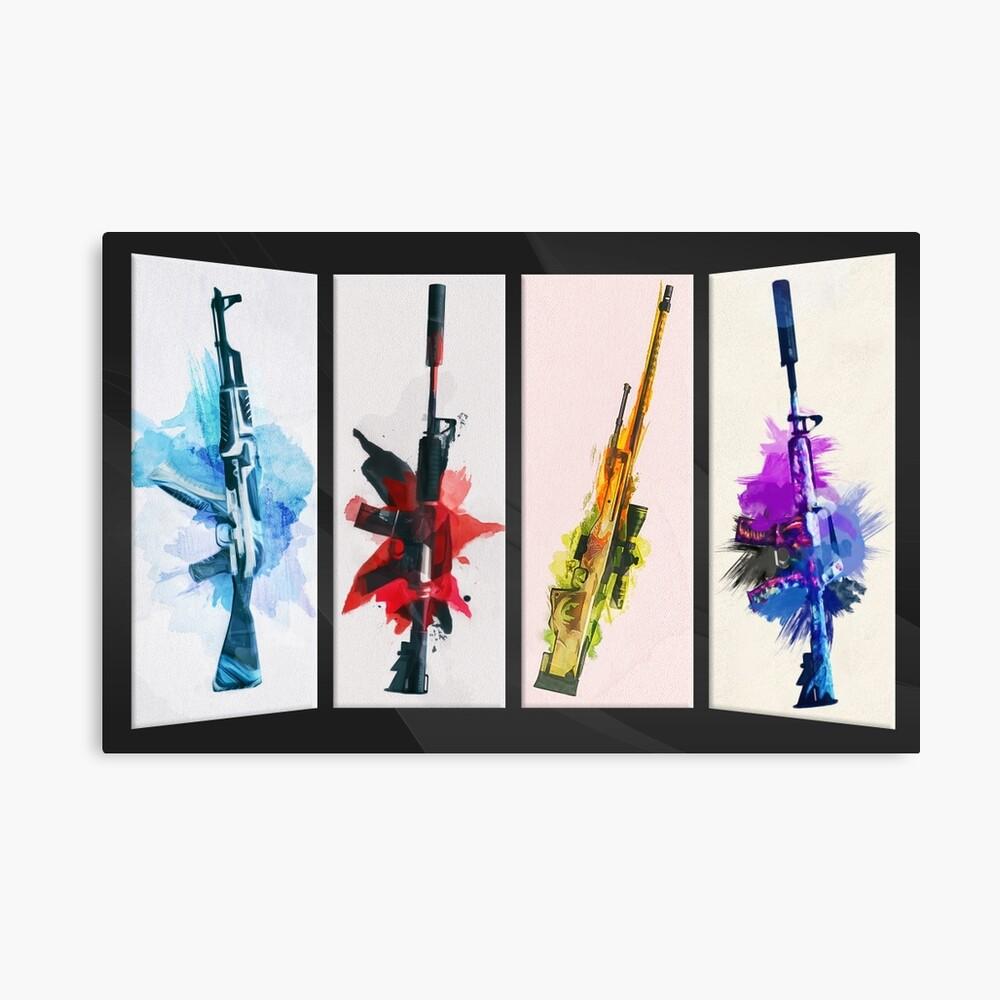 CS: GO Aquarell Waffen v2 Leinwanddruck