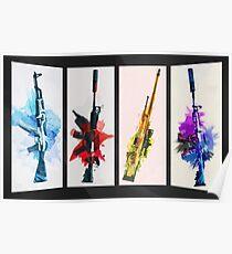 CS: GO Aquarell Waffen v2 Poster