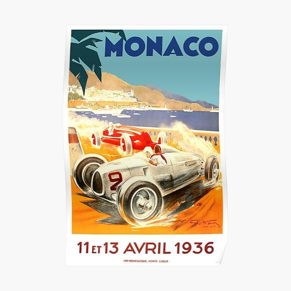 1936 Monaco Grand Prix Race Poster Poster