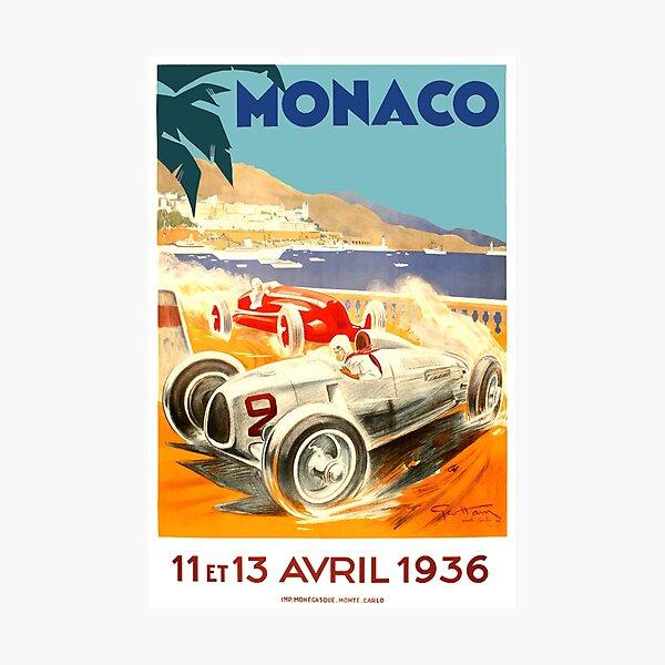 1936 Monaco Grand Prix Race Poster Photographic Print