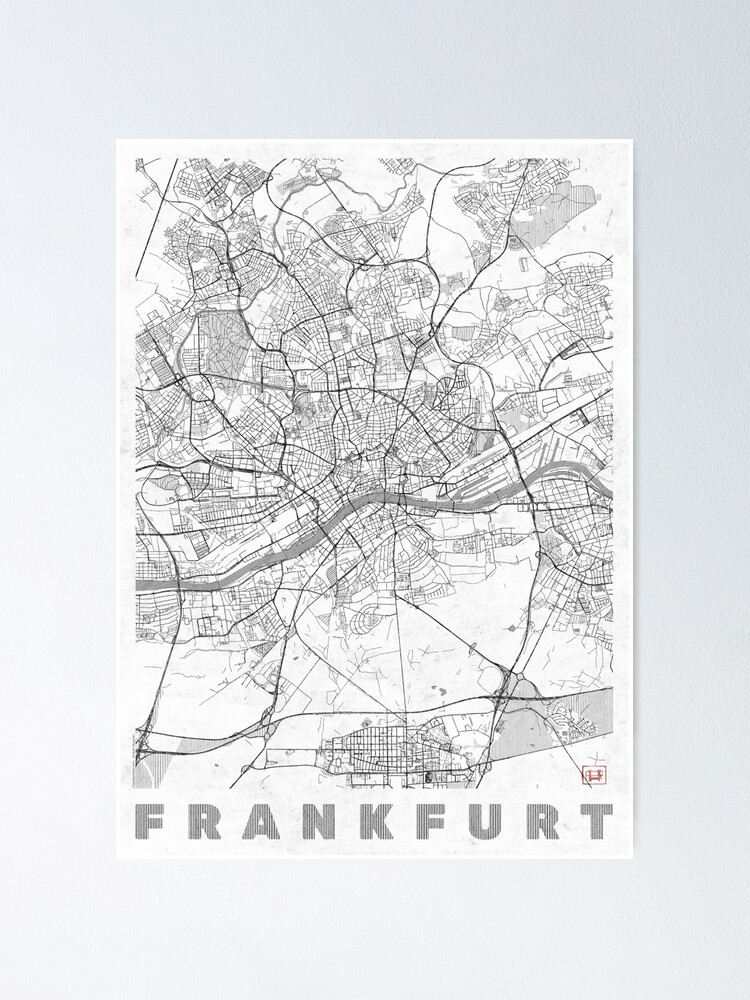 Alternate view of Frankfurt Map Line Poster
