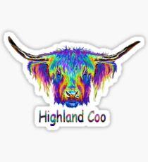 Rainbow Highland Coo Sticker