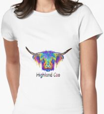 Rainbow Highland Coo Womens Fitted T-Shirt