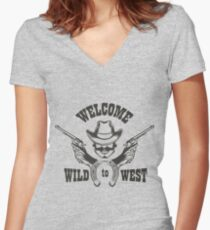 Welcome to Wild West Emblem Women's Fitted V-Neck T-Shirt