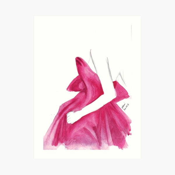 Watercolour & Ink Fashion Illustration Titled Marchesa Art Print