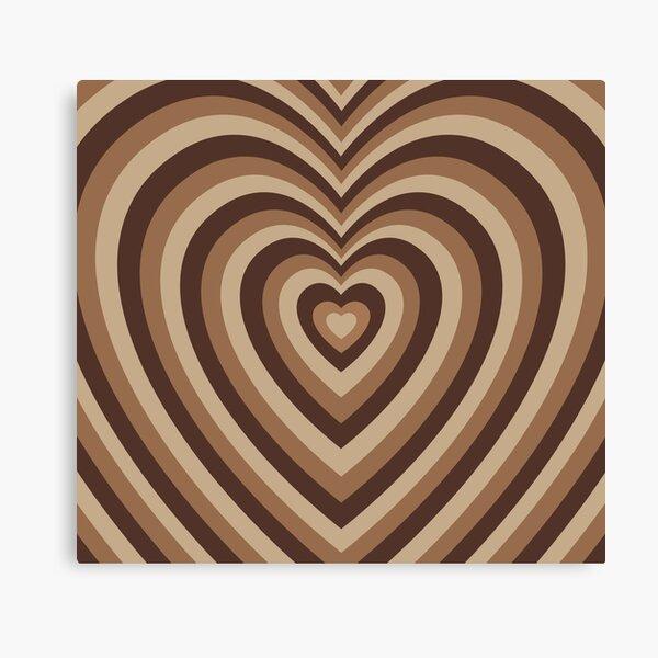 Monotone Mocha Hearts Canvas Print
