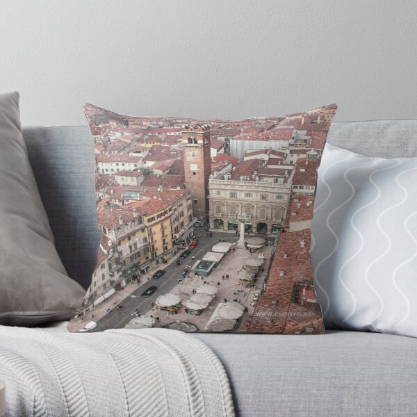 Piazza Erbe, Verona, Italy Throw Pillow