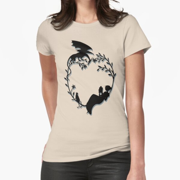 Ex Libris - Black with shadow Fitted T-Shirt