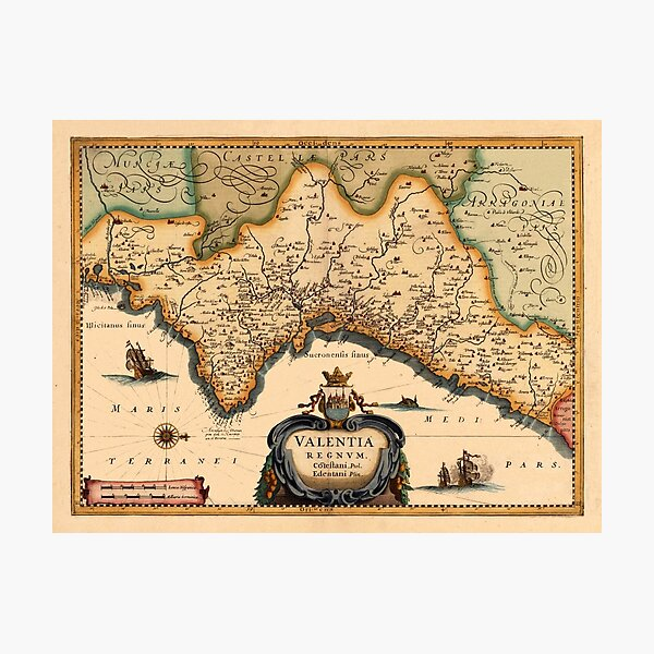 Mapa de Valencia 1634 Lámina fotográfica