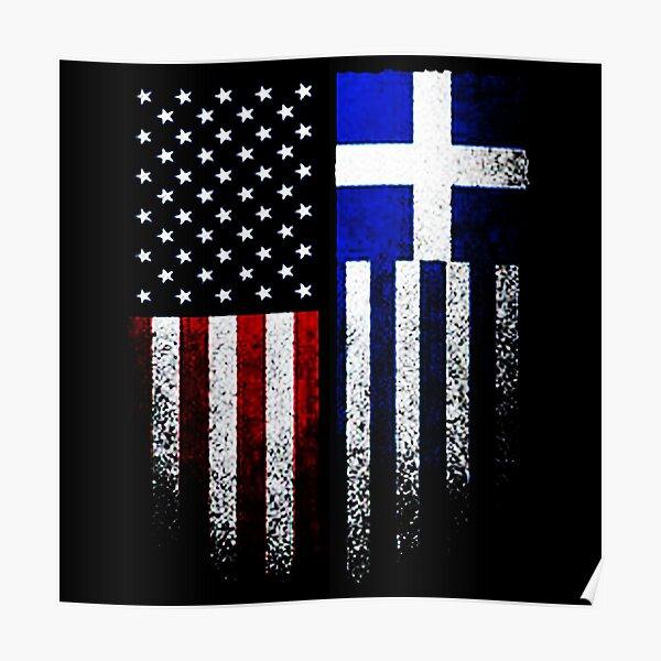 Greek American Flag Poster