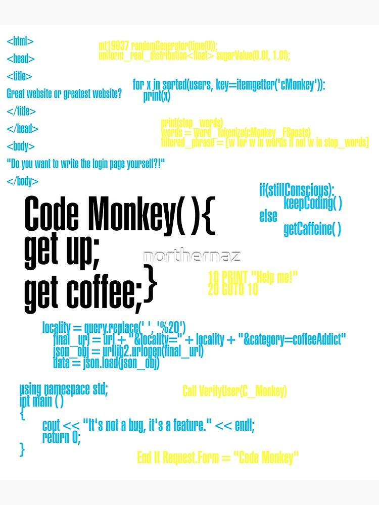 Code Monkey Get Coffee | Poster