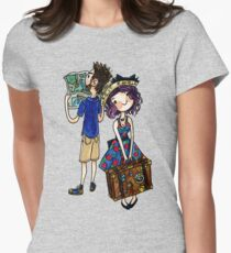 Travel Couple Watercolor Sticker or Shirt Womens Fitted T-Shirt