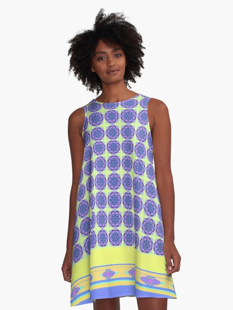 purple mandalas A-Line Dress Front