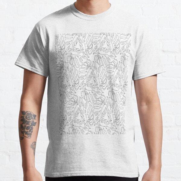 Monstera Leaves Black and White Line Art Botanical Pattern Classic T-Shirt