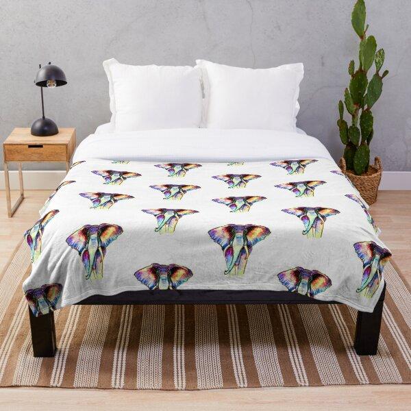 Rainbow Elephant Throw Blanket