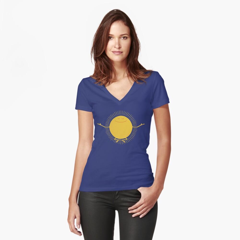 Adorador del sol Camiseta entallada de cuello en V