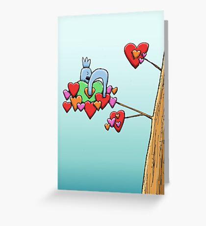 Cute Koala Sleeping on Hearts Greeting Card