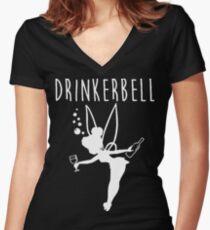 Drinker Bell Women's Fitted V-Neck T-Shirt