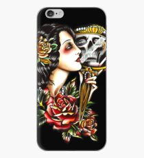 Traditional Girl Tattoo Skeleton Reflection iPhone Case