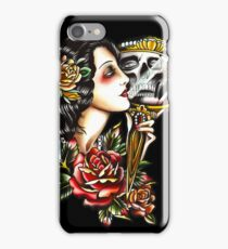 Traditional Girl Tattoo Skeleton Reflection iPhone Case/Skin