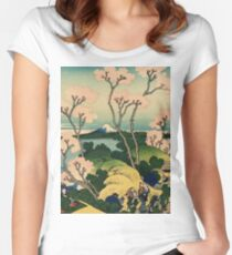 Hokusai Katsushika - Goten-yama-hill, Shinagawa on the Tokaido Women's Fitted Scoop T-Shirt