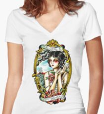 Traditional Tattoo Pin up Girl Navy Ship Women's Fitted V-Neck T-Shirt
