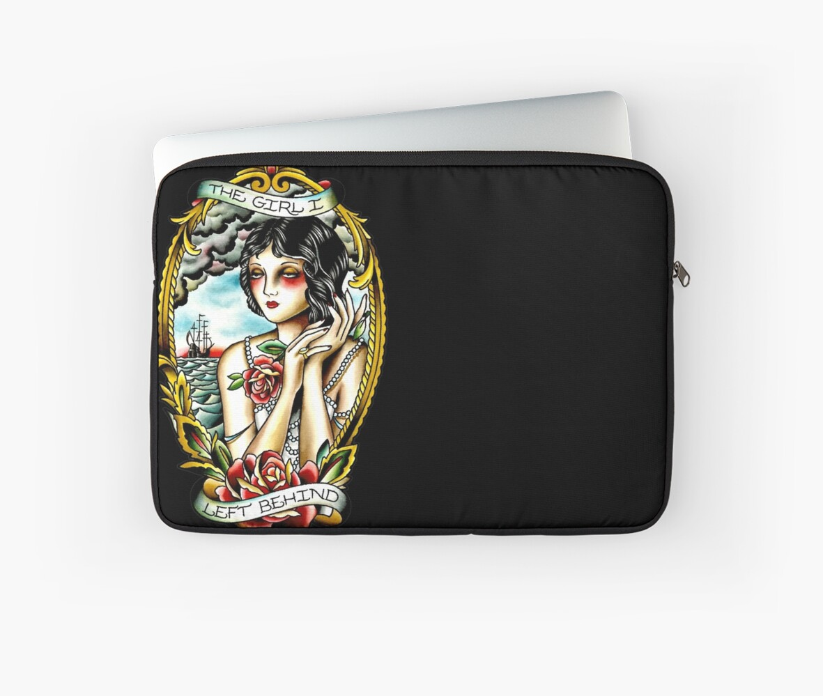 Traditional Tattoo Pin Up Girl Navy Ship Laptop Sleeves By Drtattoo