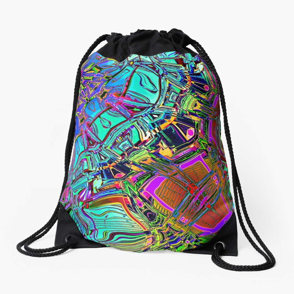 Colorful Automotive Pop Art Drawstring Bag