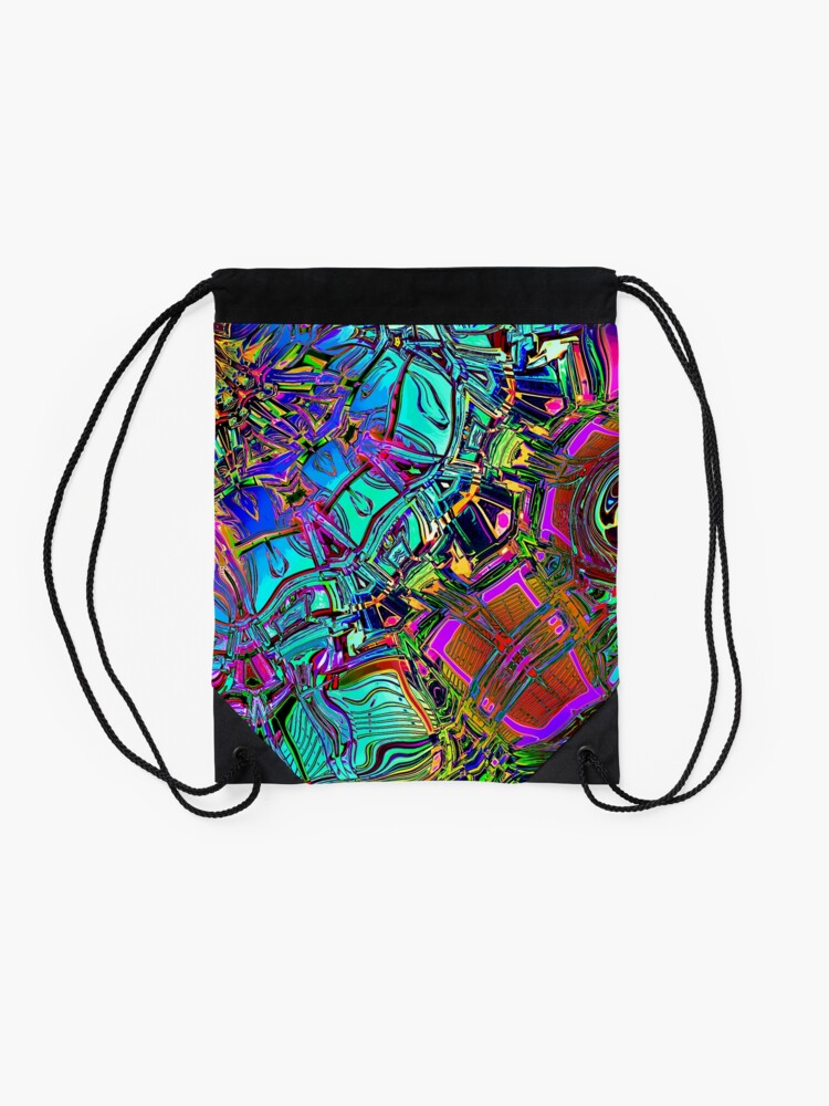 Alternate view of Colorful Automotive Pop Art Drawstring Bag