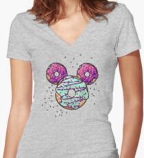 Pop Donut -  Berry Frosting Women's Fitted V-Neck T-Shirt
