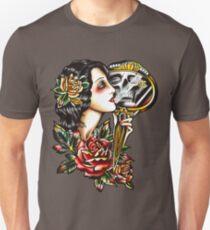 Traditional Girl Tattoo Skeleton Reflection T-Shirt