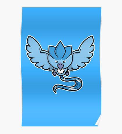 Super Cute Legendary Bird - Team Blue Poster