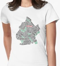 Brooklyn New York Typography Map Women's Fitted T-Shirt