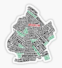 Brooklyn New York Typography Map Sticker