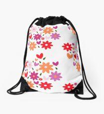 Flower & Hearts Drawstring Bag