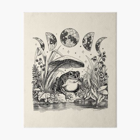 Cute Cottagecore Aesthetic Frog Mushroom Moon Witchy Vintage Art Board Print