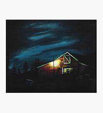 Red Barn at Dusk Photographic Print