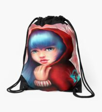 Red Riding Hood - Skater Girl in Forest Drawstring Bag