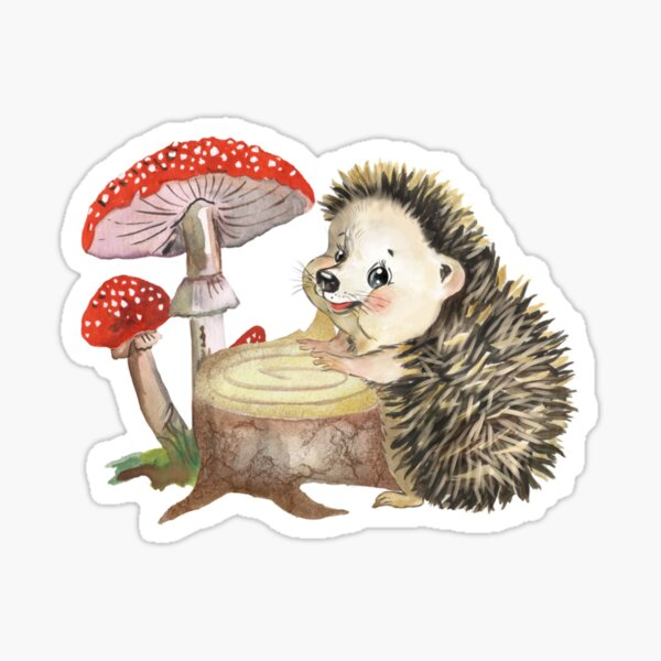 Watercolor depicting a cartoon hedgehog and mushrooms,bickers, forest  Sticker