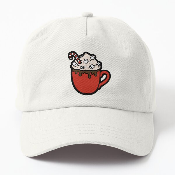Festive Hot Cocoa Pattern in Dark Red Dad Hat