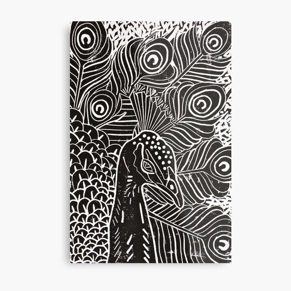 Peacock Linocut in Black Metal Print