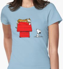 SNOOPY VS HOBBES Womens Fitted T-Shirt