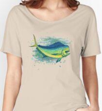 """Mahi Mahi Splash"" by Amber Marine ~ watercolor & ink dolphin fish / dorado painting, art © 2016 Women's Relaxed Fit T-Shirt"