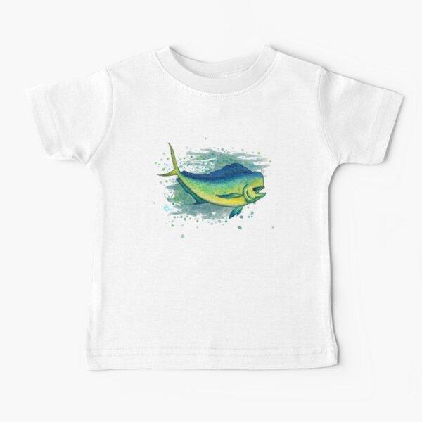 """Mahi Mahi Splash"" by Amber Marine ~ watercolor & ink dolphin fish / dorado painting, art © 2016 Baby T-Shirt"