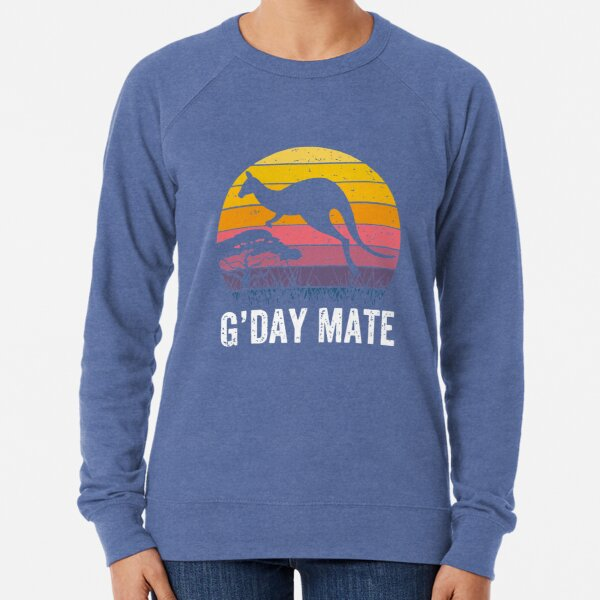 Australia G'Day Mate Shirt Funny Kangaroo Australian Symbol  Lightweight Sweatshirt